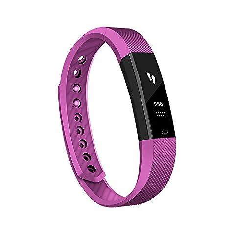 Antimi Bracelet Connecté,Sport Smart watch Band montre connectée Bluetooth 4.0 Tracker d'activité Podomètre avec , Alarme, Step, Calories, Sommeil pour iPhone Android Smart Phone(Violet)