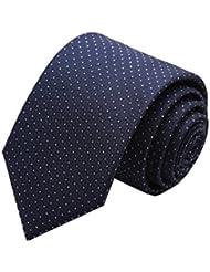 Simple et chic pour homme Business Liens Cravate formelle avec boîte cadeau, Bleu marine à pois