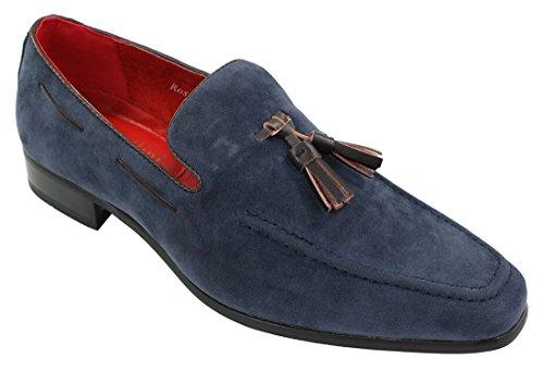 Rossellini scarpe eleganti da uomo in pelle pu scamosciata senza lacci con nappine blu 9uk, 43eu