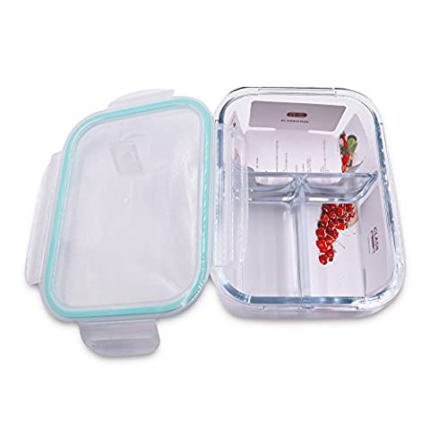 Lazy Puppy 1100ML Glass Container Food Storage Set with Lids Microwave Lunch Box with Three Compartments