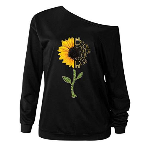 ZEELIY Oberteile Elegante Damen Schulterfrei Basic Tshirt Rundhals Langarm Sonnenblume Muster Herbst Winter Casual Tunika Bluse Geeignet für den Alltag -
