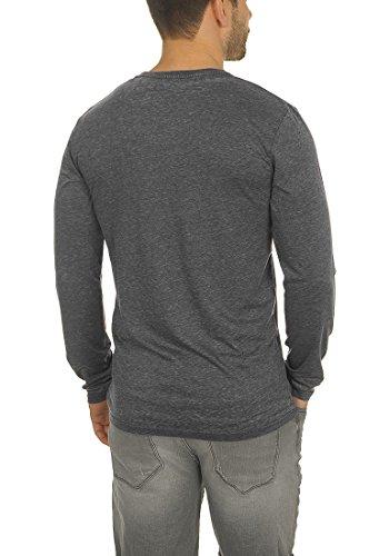 !Solid Them Herren Longsleeve Langarmshirt mit V-Auschnitt Aus Hochwertiger Baumwollmischung Meliert Black (9000)