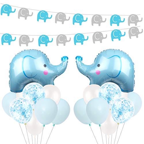Kreatwow Blue Elephant Baby Shower Dekorationen für Jungen mit Blue Mylar Elephant Ballon Konfetti Luftballons für Baby Elephant Birthday Supplies (Supplies Party Elephant Blue)