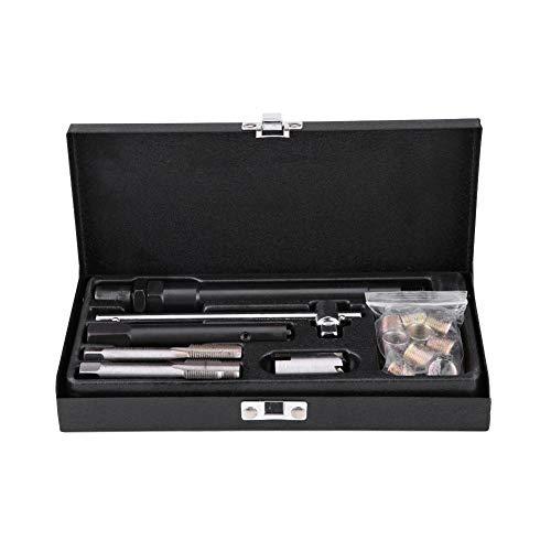 Zerone M14 Kit Attrezzo per Riparazione Filettatura Candela, Tap Custodia Spark Plug Tool Rethread Auto Portatile (25Pcs)