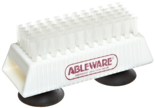 Ableware 753490211 Nail Brush with Suction Cup Base by Maddak Inc.