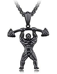 Du Hombre Fuerte Mancuerna Gimnasio Fitness Pesas Colgante Collares Collar De Titanio Acero Inoxidable