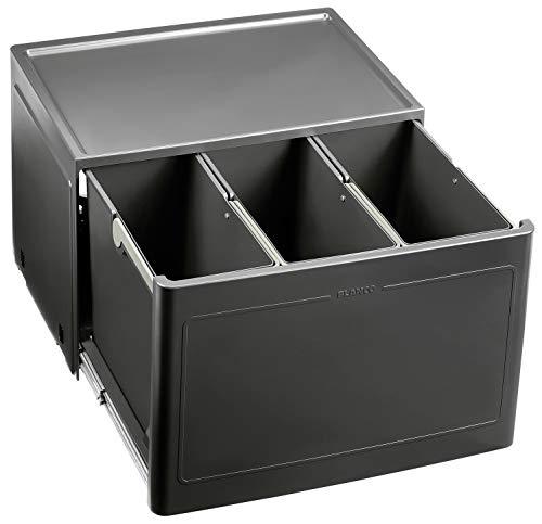 Blanco Botton Pro 60/3 Manuell, Müllsystem für die Abfalltrennung in der Küche, mit 3 Mülleimern (je 13 l), zur Boden-Montage im 60 cm-Unterschrank; 517469 3 Küche