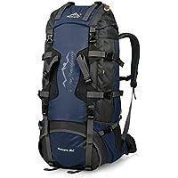 Vbiger Mochilas de 80L Impermeable con Cubierta de lluvia para Viajes Senderismo de Alpinismo (Azul)