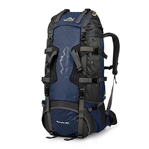 Imagen de vbiger  de 80l impermeable con cubierta de lluvia para viajes senderismo de alpinismo azul