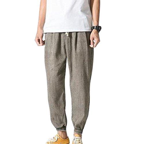 Haremshose für Herren Männer Bequem Elastische Taille Leinenhose mit Taschen Mode Reine Farben Lange Beiläufig Leinenshorts Hosen Große Größen