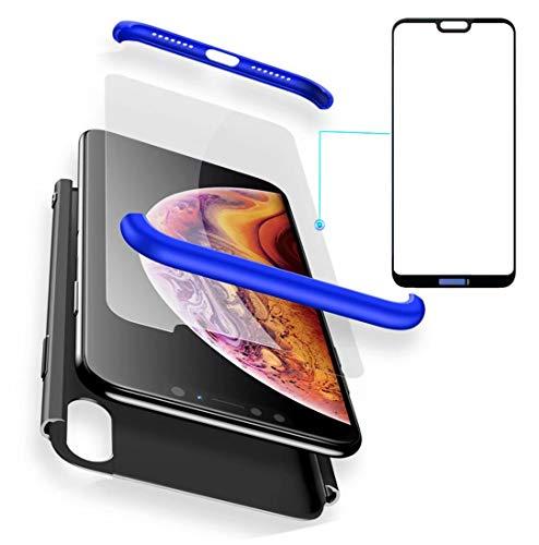 """AILZH Custodia Huawei P20 Lite(5.84"""") Cover 360°Copertura Protettiva Case PC Guscio Duro Anti Shock Anti-graffio Bumper 360 Gradi Matte Caso Rosa(5.84"""" Blu Nero)+ Film di Vetro temperato"""