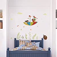 Cute Owl Fox Bird Umbrella in The Rain Wall Decals for Kids Rooms Home Decor Cartoon Animals Stickers PVC Mural Art Poster