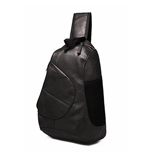 Outreo Schultertasche Herren Brusttasche Leder Umhängetasche Reisen Reisetasche Ledertasche Vintage Tasche Handtasche Sporttasche für Sport Schwarz