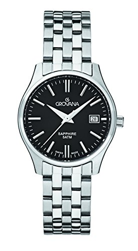 GROVANA 5568.1137 Women's Quartz Swiss Watch with Black Dial Analogue Display and Silver Stainless Steel Bracelet
