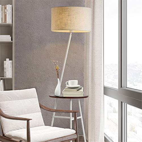 LCYCN Nordische Vertikale Bodenlampen Regale Massive Hölzerne Stoff Stehleuchten Für Wohnzimmer Schlafzimmer Bett Sofa-Tischbeleuchtung Dekor,White