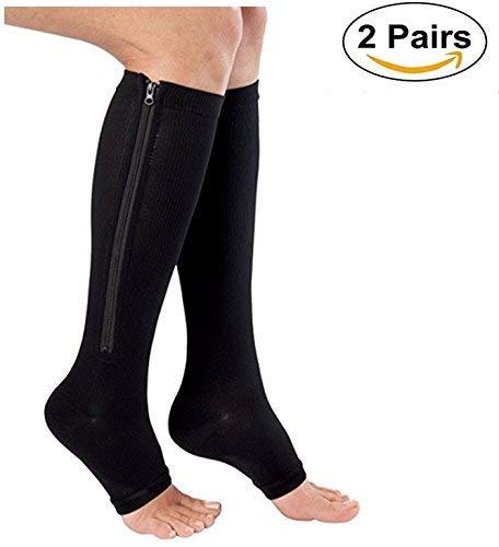 Acsox Kompressionsstrümpfe mit Reißverschluss (2 Paar), offene Zehenschenkel, Medizinische Ödeme, Krampfadern, geschwollene Wunde Kniestrümpfe, schwarz, L/XL