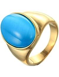 Epinki Bijoux Acier Inoxydable Vintage Punk Rock Homme Bleu Ovale Opale  Bague 6MM f2637526f84