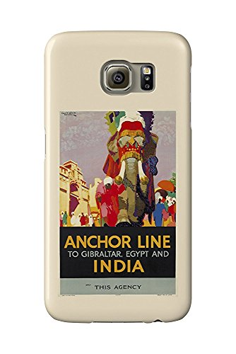Anchor Line - India Vintage Poster (artist: Nicoll) UK c. 1926 (Galaxy S6 Cell Phone Case, Slim Barely There)