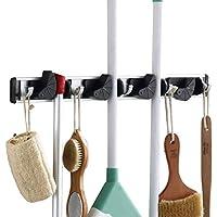 HOMFA Mophalter Gerätehalter wandhaken für Besen, Mopp Wischmopp Regal mit 4 Schnellspannern Aluminium Wandhalter Schwarz