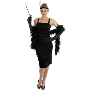 Ladies Black Red 1920s 30s Flapper Charleston Fringed