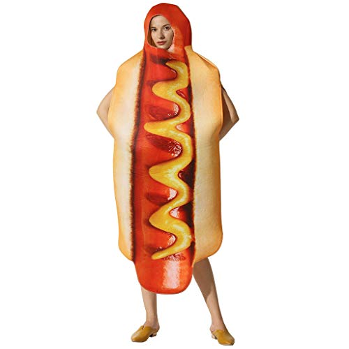 Spielzeug -Artistic9 Halloween Food Kostüme Erwachsene Unisex 3D Hot Dog Wurst Kleid Mit Kapuze Robe Lustige Halloween Maskerade Cosplay Party Dress up - Lustige Walking Dog Kostüm