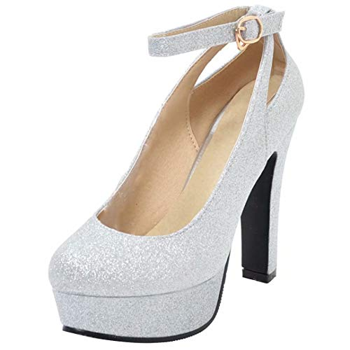 1a4ade5bc49a88 AIYOUMEI Damen Glitzer High Heels Plateau Pumps mit Blockabsatz und Riemchen  Abend Schuhe