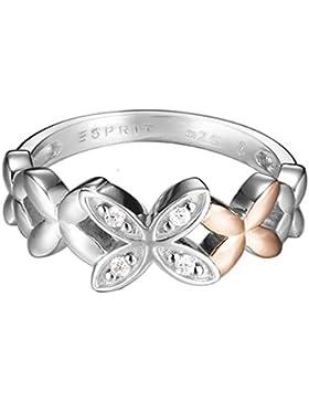 Esprit Damen-Ring Bouquet 925 Silber rhodiniert Zirkonia weiß Brillantschliff Gr. 57 (18.1) - ESRG92420B180