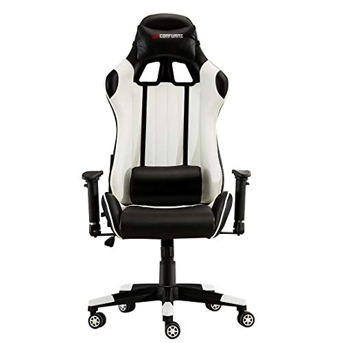 JL Comfurni Gaming Chair Chesterfield Ergonomic Swivel Office Chair High Back Heavy Duty Home Office Computer Desk Chair PU Leather Recliner Sport Racing Chair (Black&White)