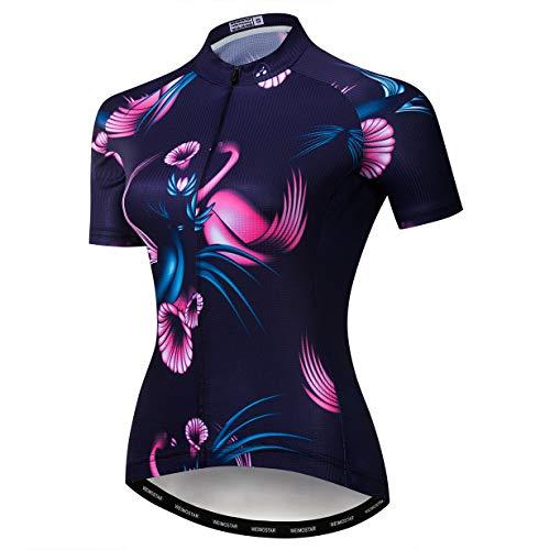 Weimostar MTB Trikot Radtrikot für Damen Mountainbike Jersey Shirts Kurzarm Rennrad Tops Pro Team RacingTops für Damen Famale Sommerbekleidung Atmungsaktiv und schnell trocknend Größe S
