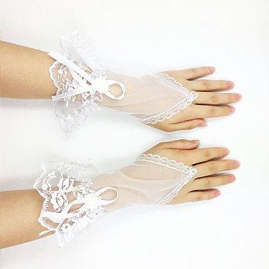 FUNAN Handgelenk-Länge Ohne Finger Handschuh Netz Tüll Brauthandschuhe Party / Abendhandschuhe Frühling Sommer Herbst Rüschen Schleife Spitze . (Spitzen Länge Handgelenk Handschuhe Rüschen)