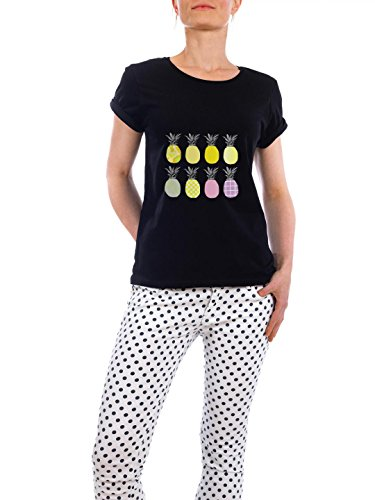 "Design T-Shirt Frauen Earth Positive ""Eight Ananas"" - stylisches Shirt Essen & Trinken von Michaela Merzenich Schwarz"