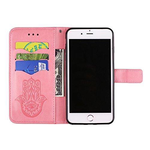 Geprägte Floweer Muster Retro Art PU-lederne Fall-Abdeckung mit Mappen-Beutel u. Lanyard u. Kickstand für iPhone 7 Plus ( Color : Rosegold ) Pink