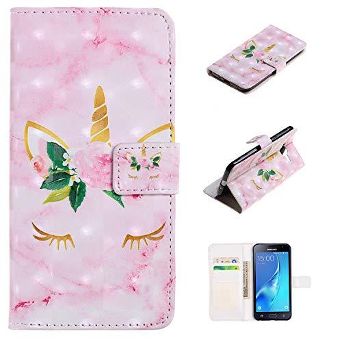 Cover Samsung Galaxy J3 2016, Custodia Antiurto Portafoglio con Disegni Unicorno e Fiore Protettiva Caso con Porta Carte Chiusura Magnetica con Cinghia Protezione Case