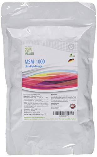 MSM (500 Tabletten a 1000mg Vegan) Ultra Hochdosiert   Big Pack XL   Methylsulfonylmethan 99,9% Rein   Pharmaqualität hergestellt in Deutschand nach ISO und GMP-Standard produziert   Preishammer