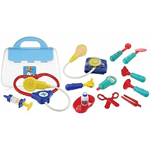 Médico de juguete kit de 13 piezas con estuche de transporte para niños de 3 a 6 años