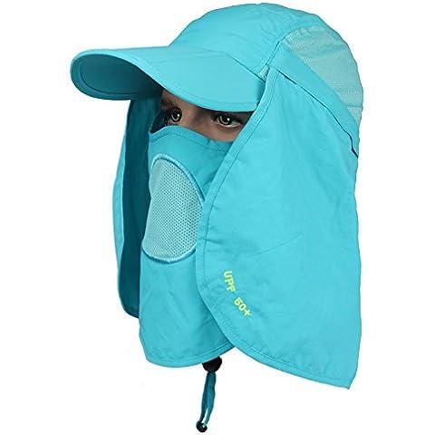 Outdoor fisherman Hat multifunzionale e traspirante ad asciugatura rapida colore solido Hat Sun Hat Cap (Signore Blu Visor)
