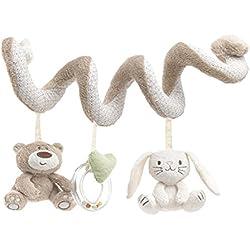TININNA Bebé Juguetes Colgantes Espiral con Felpa Animales Linda de la Conejito Bebe oso para Cochecitos Cunas de Peluche Veludillo con Sonidos para Bebés recién nacidos Niños niñas para Arrastrar