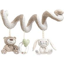 TININNA Bebé Juguetes Colgantes Espiral con Felpa Animales Linda de la Conejito Bebe oso para Cochecitos Cunas de Peluche Veludillo con Sonidos para Bebés recién nacidos Niños niñas para