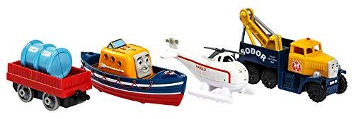 Thomas und seine Freunde Satz Von 4 Minis Genießen Sie Mit Kapitän, Harold The Helicopter, Butch The Help Und Einem Trolley | Mini Spielzeug Für Kinder Ab 3 Jahren