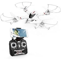 DBPOWER Drone MJX X400W FPV Drone con cámara Wi-Fi Quadcopter con retorno al inicio con modo sin cabeza para niños y principiantes-Blanco