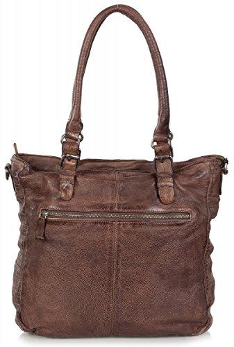 FREDsBRUDER 'mégapixels' femmes Shopper Bag - Sac bandoulière en cuir vintage (34 x 34 x 11 cm) Burned Wood (Marron)