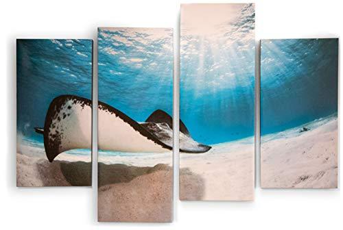 Gravy Goods 4-teiliges Leinwandbild mit Stachelrochen und tropischen Fischen (Tropische Fische Hat)