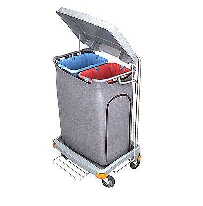 Splast Doppel-Abfallwagen 2x 70l mit Pedal und Deckel - Seitenverkleidung optional, Variante:mit Beutelabdeckung