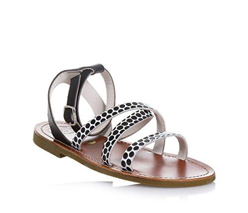 PÈPÈ - Sandale blanche et noire en cuir, made in Italy, fille-34