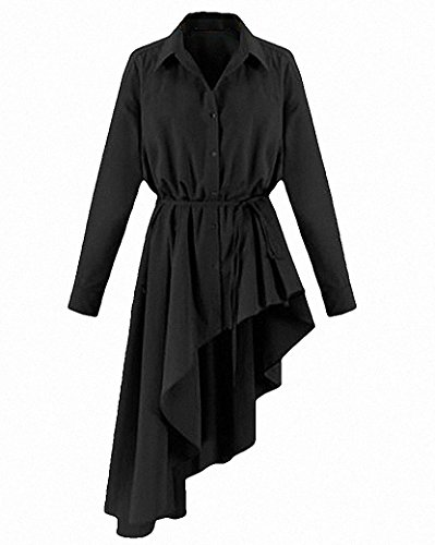 Femme Casual Sexy Col V Manche Courte Hauts Lache Shirt Irrégulier Robe Longue Blouse Top Noir