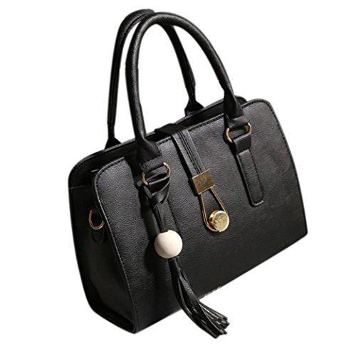 Borse Donna, Moda Donna In Pelle Artificiale Borse Spalla Borse Tote Bag Femmina Retro Messenger Bag by Kangrunmy Nero