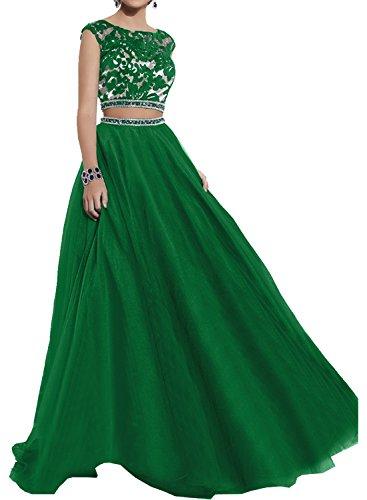 Milano Bride Elegant Royal Blau Langes Zwei-teilig Abendkleider Promkleider Abschlussballkleider mit Spitze Grün