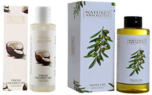 Nature's Absolutes Virgin Coconut Oil for Hair and Skin 220ml and Nature's Absolutes Olive Oil, 200ml