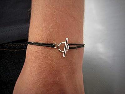 Bracelet cordon fermoir toggle Argent 925 ou Plaqué Or - bracelet fermoir cercle et barre