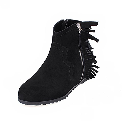 hot sale online 8dac3 d592e ... uk womens ladies new short tassel boots round head nike dunk sky hi  wedge heel shoes